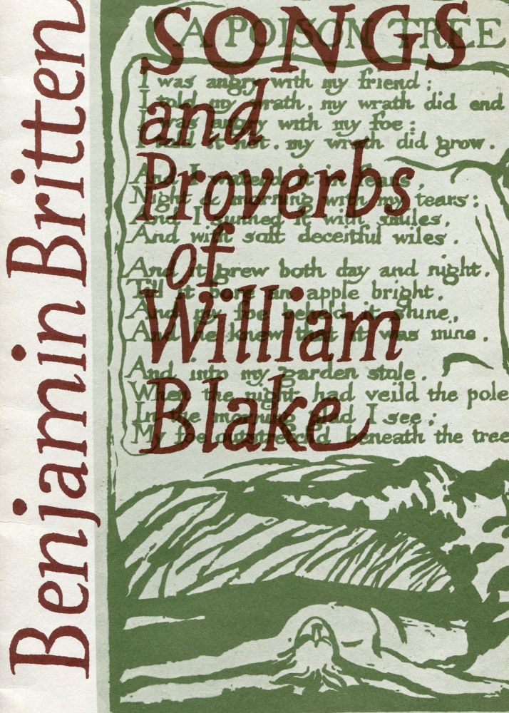 Songs and Proverbs of William Blake; for baritone and piano, Op. 74. Benjamin Britten.